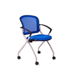 Meeting chair with castors, DK 90, blue - METIS