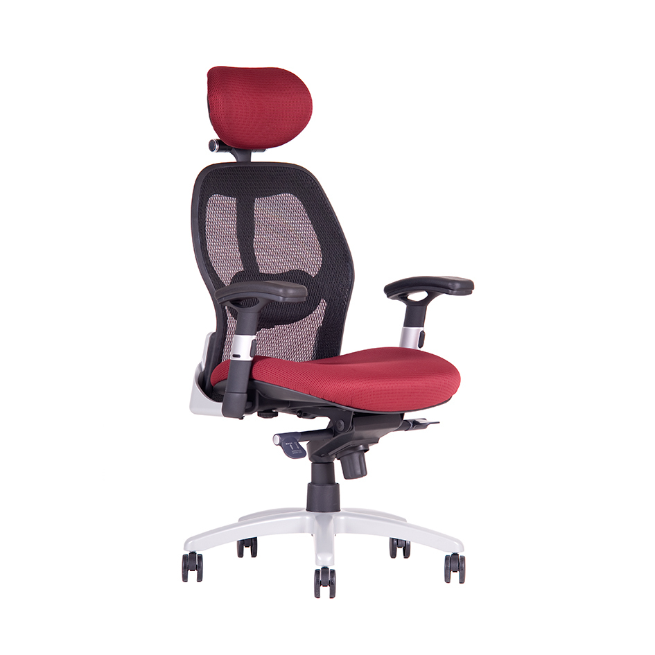 Office chair + armrests, wine red - SATURN