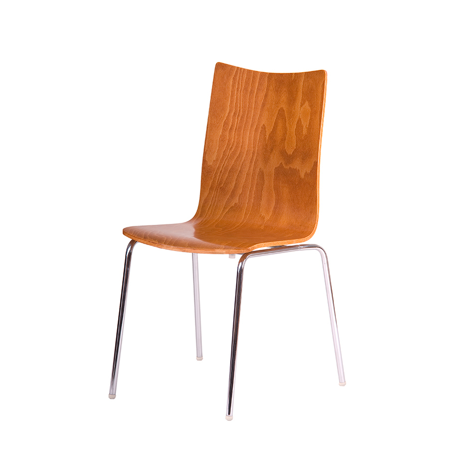 Wooden chair, CHERRY/CHROME - RITA