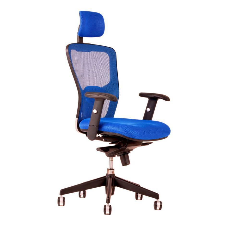 Office chair with headrest, DK 90, blue - DIKE SP