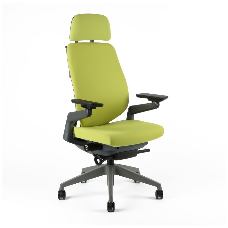 Upholstered office chair with headrest, F-01 green - KARME